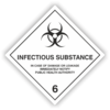 "Gefahrzettel Klasse 6.2 mit Text ""INFECTIOUS SUBSTANCE"""