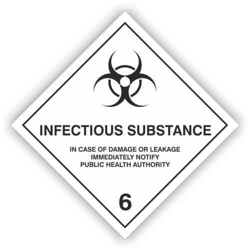 "Gefahrzettel Kl. 6.2  ""INFECTIOUS SUBSTANCE"""