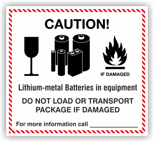 Etikett Lithium-metall Batteries in equipment, individuell