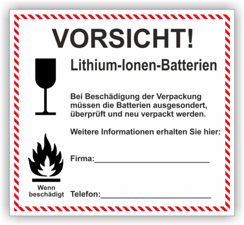 Lithium Nach Sondervorschrift 188 Wwwlabelversandde