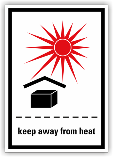 """Keep away from heat"" Rollenware Folie"