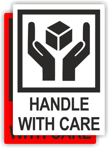 "Etikett ""Handle with care"""