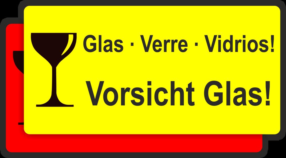 Etikett Vorsicht Glas Verre Vidrios