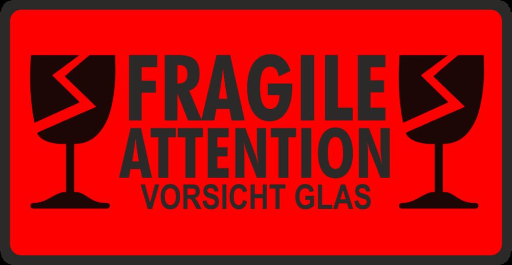 Etikett Vorsicht Glas