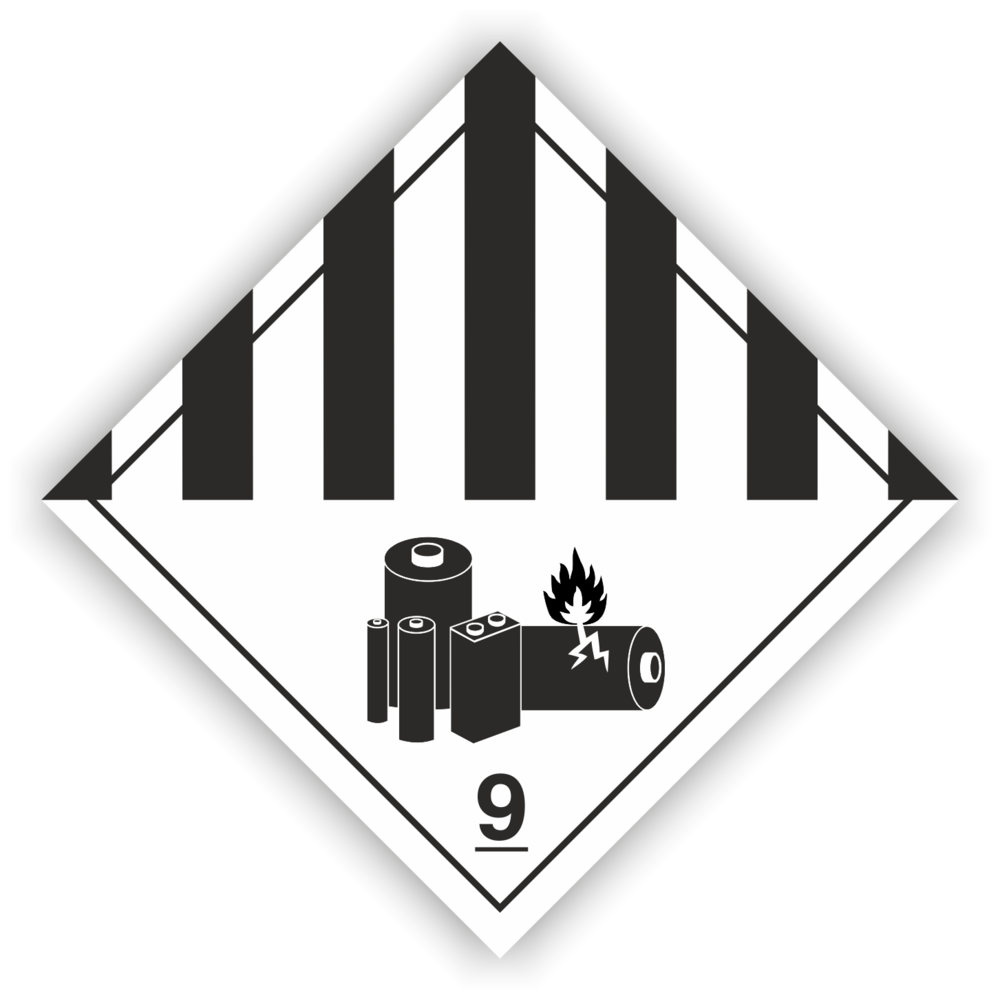 Gefahrzettel Klasse 9 A Lithiumbatterien