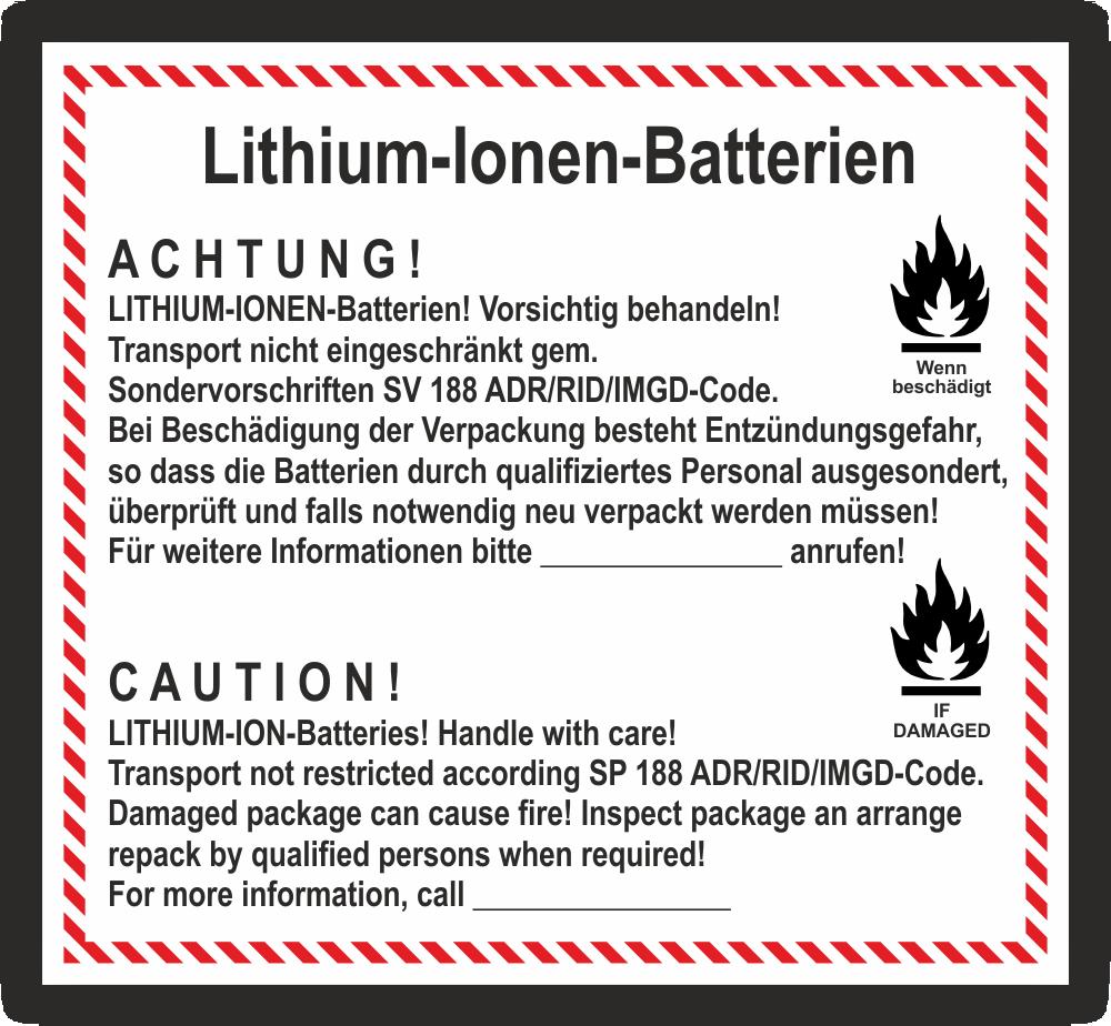 Etikett Lithium Ionen Batterien Sv188